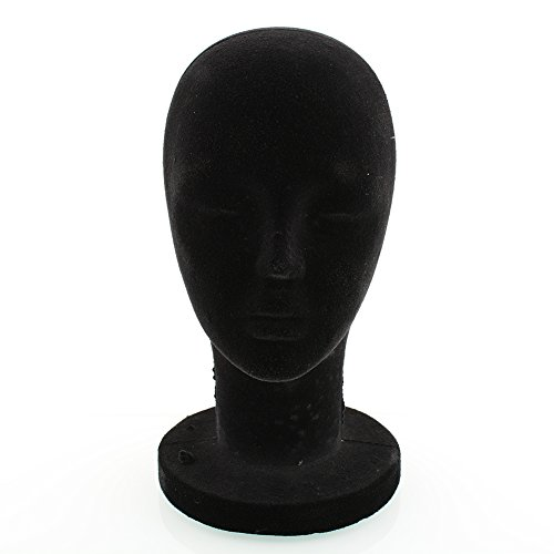 XIAOMU Black Styrofoam Foam Mannequin Head Stand Model Wig Hair Glasses Hat 56cm]()
