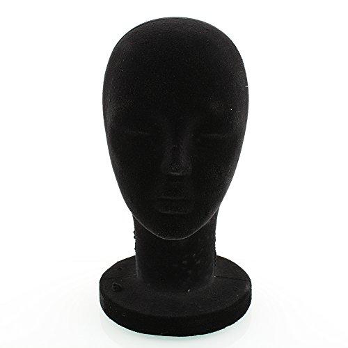 XIAOMU Black Styrofoam Foam Mannequin Head Stand Model Wig Hair Glasses Hat 56cm