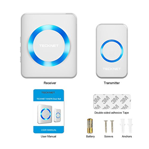 TeckNet Wireless Doorbell Wall Plug-in Cordless Door Chime 300m Range Waterproof