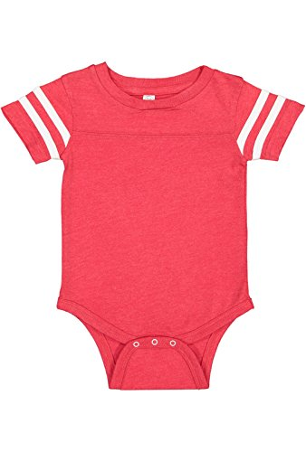 Newborn Football Jersey Shirt - Rabbit Skins Infant Jersey Short Sleeve Football Bodysuit (Vintage Red/Blended White, Newborn)