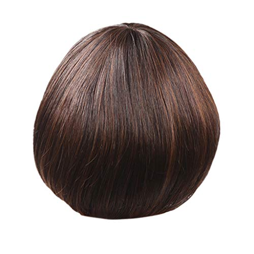 NRUTUP Fashion Synthetic Mushroom Head Brown Black Hair Wig Natural Hair Wigs Clearance Hot Sales(Brown,Free Size) ()