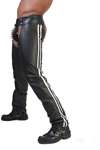 Whip It Leather's Men's Leather Chaps With Stripes 34