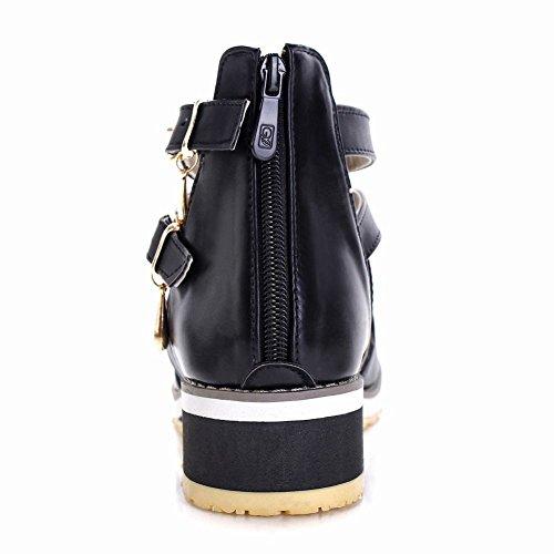 Carol Shoes Women's Concise Western Low Heel Wedge Buckles Sandals Black pwbtLe