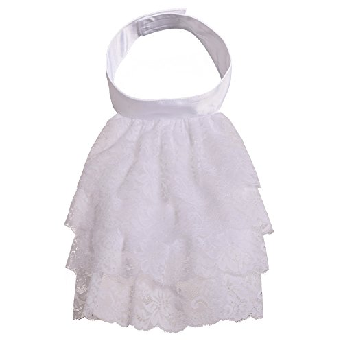 (BLESSUME White Colonial Lace Jabot Cuffs Set Costume Accessory (Big White Jabot) )