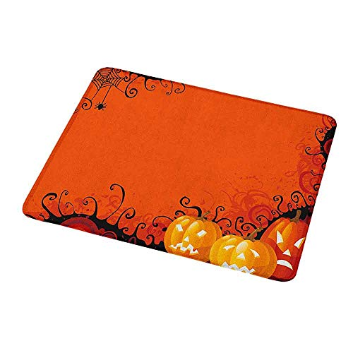 Gaming Mouse Pad Custom Design Mat Spider Web,Three Halloween Pumpkins Abstract Black Web Pattern Trick or Treat,Orange Marigold Black,Non-Slip Rubber Mousepad 9.8