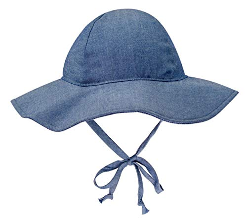 BELLEBEAUTIE Baby Floppy Wide Brim Sun Hat Kids Breathable Cotton UPF 50+ Sun Protect Hat(10 Colors) Chambray
