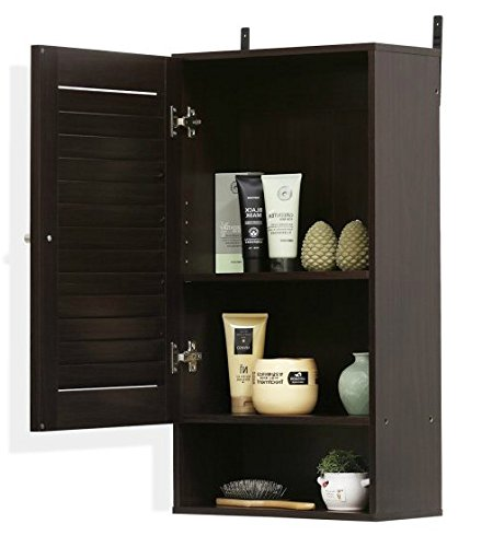 Wood Medicine Cabinet , Bathroom - Single Door, Espresso by Premium Furniture