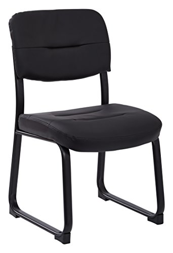 Work Smart Faux Leather Visitor Chair with Sled Base, Black For Sale
