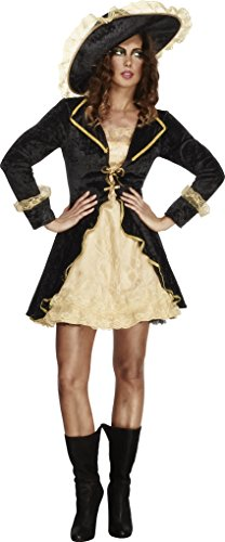 Fever Smiffys Women's Swashbuckler Costume, Dress, Attached Underskirt and Hat, Pirates, Size 6-8, (Ladies Swashbuckler Hat)