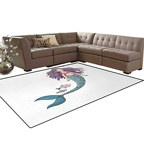- Fantasy,Carpet,Cartoon Mermaid Princess with Wavy Hair Crown Little Pink Heart and Fish,Non Slip Rug,Violet Blue and Beige,6'x8'