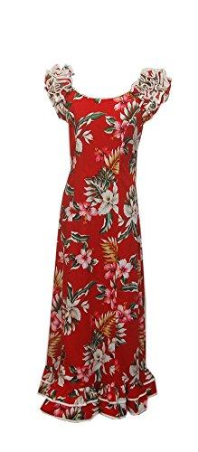 Mode Dress Cotone Cotton Lungo Inc Volant Long Inc Rosso Di Orchid Rosso Donne Hawaiian Orchidea Red Sleeves Fashions Red Ruffle Women's Abito Jade Maniche Delle Giada Hawaiian 4O0wxE4U