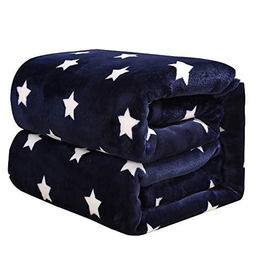 ket, Soft Microfiber Flannel Blanket for Christmas, Fleece Throw Blanket for All Season,Twin Size(Blue Star) ()