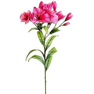 "Floral Home Silk Alstroemeria Spray in Pink Fuchsia - 25"" Tall - Set of 3 4"