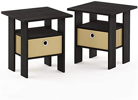 picture of Furinno End Table Bedroom Night Stand, Petite, Espresso, Set of