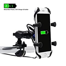 Motorcycle Mount, RAXFLY X-Grip Motorbike Cell Phone Holder Bracket with USB Charger Socket Plug for iPhone 6 6S 7 Plus Samsung HTC Huawei Nexus GPS and More - Black