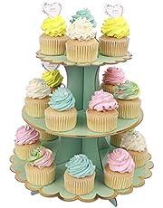 Muffinsställ 3 nivåer muffins efterrättshållare kartong runt torn för barn bebisar flickor temafest födelsedagsfest