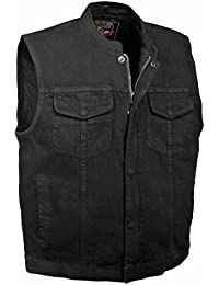 Men's Concealed Snap Denim Club Style Vest w/ Hidden Zipper (Black,)