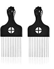 2 Pack Afro Pick, Hair Picks Combs Metal Wide Toothpicks for Curly Hair