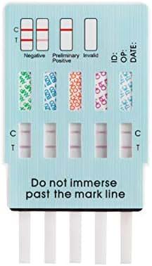 5 Pack Easy@Home 5 Panel Instant Drug Test Kits - Testing Marijuana (THC), COC, OPI 2000, AMP, BZO - Urine Dip Drug Testing - #EDOAP-754