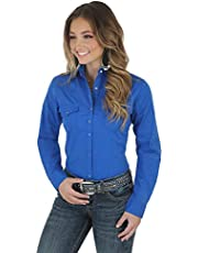 Wrangler Women's Western Yoke Two Snap Flap Pocket Shirt