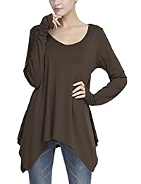 Urban CoCo Women's Long Sleeve Handkerchief Tunic Top with Thumb Hole