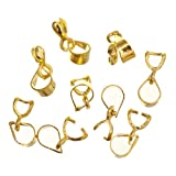 ILOVEDIY 18KGP Silver/Gold Plated Pinch Bails for Pendants Clip Bail for Jewelry Making (Gold-19mm)