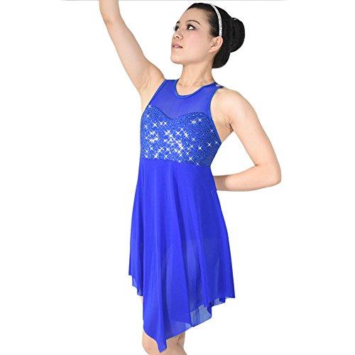 MiDee Lyrical Dress Dance Costume Illusion Sweetheart Sequines Tank Top Trianglar Skirt (LA, Royal Blue)