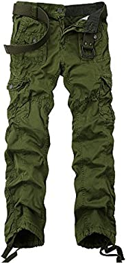 OCHENTA Men's Cotton Washed Slim-fit Multi Pockets Military Cargo Pant (38, Army Gr
