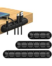 [3 Packs] Cable Clips Cord Management Organizer, JOYAUS Black Silicone Adhesive Hooks, Cord Manager Wire Cord Holder for Power Cords Charging Accessory Cables, Mouse Cable, PC, Office Home