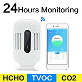 Wulidasheng Air Quality Monitor Detector for CO2 HCHO TVOC PM2.5,Smart WiFi CO2 HCHO TVOC PM2.5 Meter Air Quality Analysis Tester Sensor Detector for Home Office Car and Various Occasion White