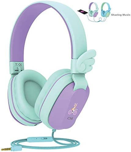 Kids Headphones, Riwbox CS6 Lightweight Foldable Stereo Headphones Over Ear Corded Headset Sharing Function with Mic and Volume Control Compatible for iPad/iPhone/PC/Kindle/Tablet (Purple&Green)