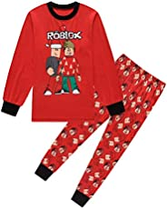 Thombase YouTube Game Kids Boys Long Sleeve Christmas Xmas Pajamas Black Red Pjs 6-13 Years