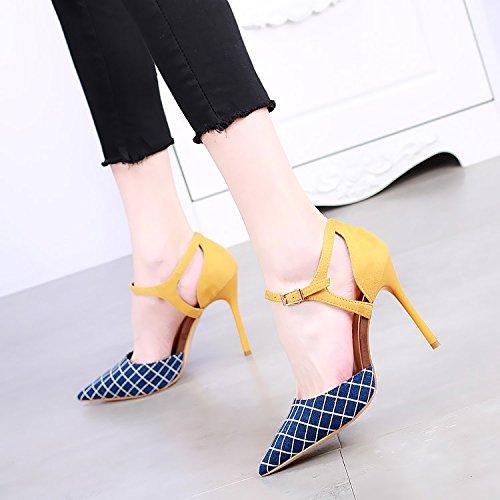 SSBY Eine 10 Cm High Heels Mit Einem Feinen Übereinstimmen Alle Übereinstimmen Feinen Schuhe Neue Sexy Hohle Wort Schnalle Farbe Matching Blau 995a1c