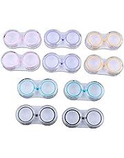 perfektchoice 10pcs Mini Contact Lens Soaking Case Care Storage Box, Mixed Color Portable