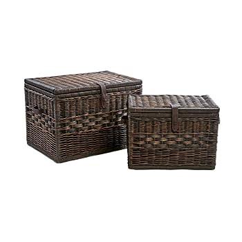 The Basket Lady Deep Wicker Storage Trunk | Wicker Storage Chest, L, Antique Walnut Brown