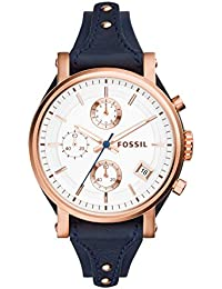 Women's Original Boyfriend Quartz Stainless Steel and Leather Chronograph Watch, Color: Rose Gold-Tone, Blue (Model: ES3838)