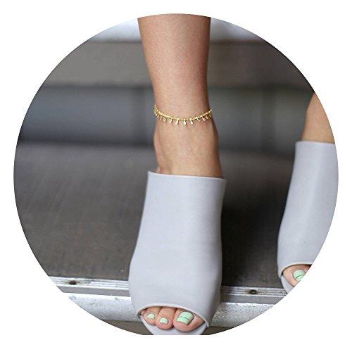 Fettero Anklet Women Handmade Dainty 14K Gold Fill Boho Beach Foot Chain Adjustable Tassel