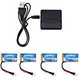 UUMART JJRC H31 RC Quadcopter Spare Parts 4 Pcs 3.7V 400mAh Lipo Battery +4 In 1 Charger