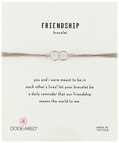 Dogeared Friendship Sterling Silver Double Link Taupe Silk Adjustable Closure Bracelet