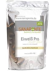 SANAPONTE Eiweiß Pro | hochdosiertes Eiweiß-Pulver | Schokolade oder Vanille Geschmack | Bei Eiweiß-Mangel, Belastung, Stress & zum Abnehmen | Nahrungsergänzungsmittel für Kraft-Sport & Ausdauer-Sport