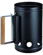 Bambelaa! Encendedor de carbón para Barbacoa con Mango de Madera, Columna de combustión, Chimenea de Barbacoa, Encendedor de Plata/Negro, Aprox. 17 x 27 x 27 cm.