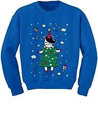 Tstars - Unicorn Xmas Tree Dress Cute Ugly Christmas Youth Kids Sweatshirt