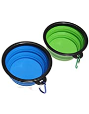 Piepea Collapsible Dog Bowl, 2 Pack Travel Bowl, Made of Food-Grade Silicone, BPA-Free, Portable Foldable Dog Cat Food Water Feeding Bowl, Two Free Carabiners