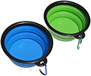 Piepea Collapsible Dog Bowl, 2 Pack Travel Bowl, Made of Food-Grade Silicone, BPA-Free, Portable Foldable Dog