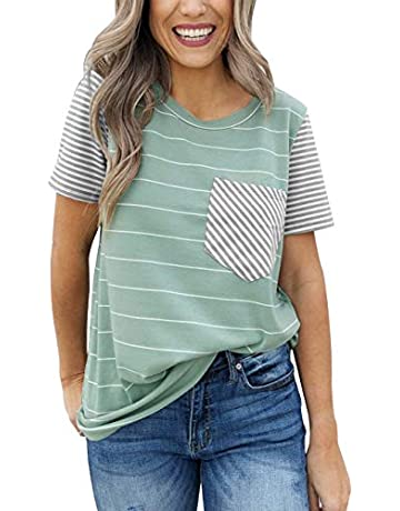 849fbaf69647e MEROKEETY Women s Summer Striped Short Sleeve Contrast Color Casual T-Shirt  Tops with Pocket