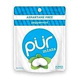 PUR Mints Peppermint Aspartame Free, 20-Piece Bags, 12 Count