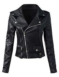 Sungtin Women's Faux Leather Slim Motorcycle Biker Short Jacket Coat