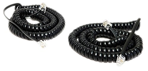 iMBAPrice (Pack of 2) Black Coiled Telephone