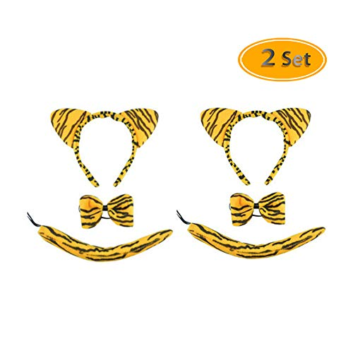 Fireboomoon 2Pcs Lovely Stripe Tiger Costume Set, Cat Ears Headband Bow Tie Tail