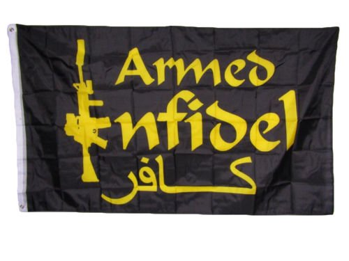 Moon 3x5 Armed Infidel m4 Rifle Black and Gold Flag 3x5 Hous